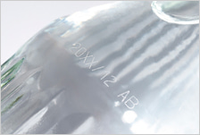 CSL30の印字事例:ガラス(マイクロクラック印字)