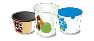 主な使用例-ヨーグルト容器、ゼリー容器、アイスクリーム容器