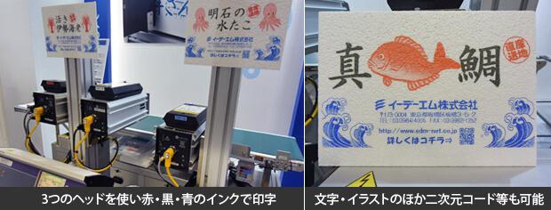 発泡スチロールへの大面積印刷 MDL5800展示の様子